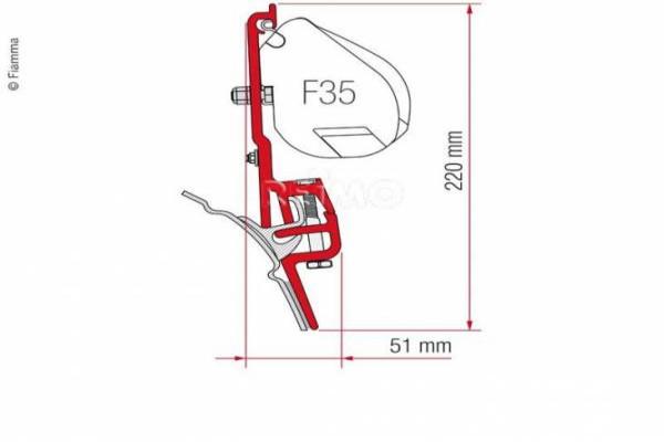 Adaptador FIAMMA F35/F45 T4 con guía BRANDRUP